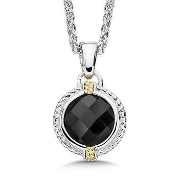 Sterling Silver, 18K Gold and Onyx Pendant