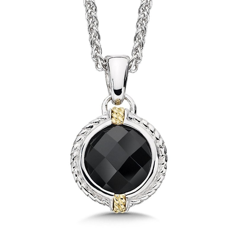 Colore Sg Sterling Silver, 18K Gold and Onyx Pendant