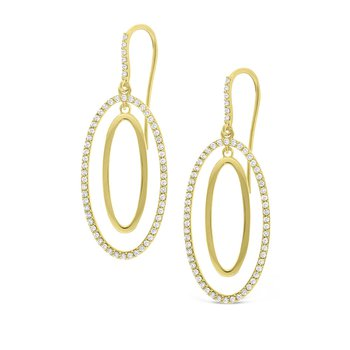 Diamond Double Oval Earrings in 14K Yellow Gold with 120 Diamonds Weighing 1.20 ct tw