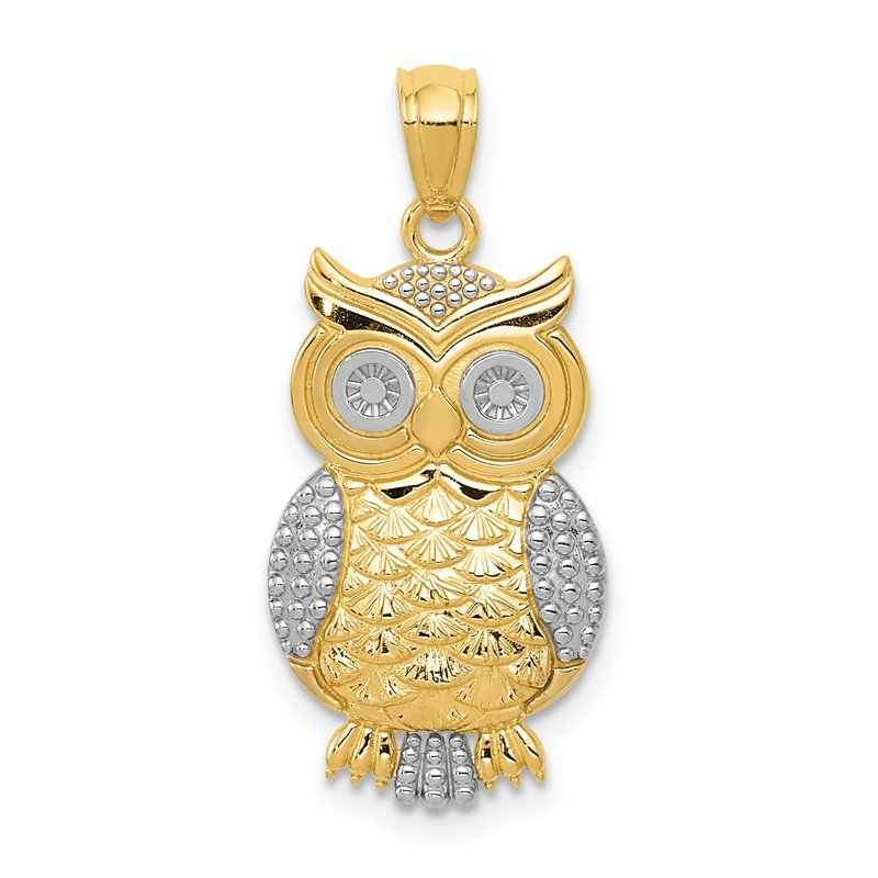 Quality Gold 14K w/ Rhodium Polished / Textured Owl Pendant
