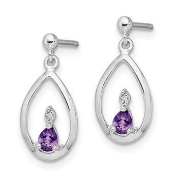 Sterling Silver Rhodium Pear Amethyst & Diamond Post Earrings