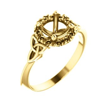18K Yellow 6.5 mm Round Celtic-Inspired Engagement Ring Mounting