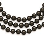 Lester Martin Online Collection Sterling S Majestik Rh-pl 3 Row 10-11mm Blk Imitat Shell Pearl Necklace