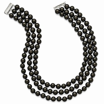 Sterling S Majestik Rh-pl 3 Row 10-11mm Blk Imitat Shell Pearl Necklace