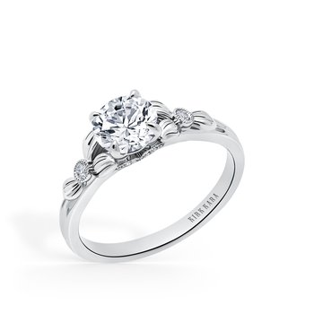 Kirk Kara 18K White Gold Diamond Leaf Engagement Ring