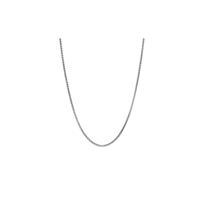 Chamilia Oxidized Silver Box Chain Necklace with Snap Closure