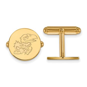 Gold-Plated Sterling Silver University of Kansas NCAA Cuff Links