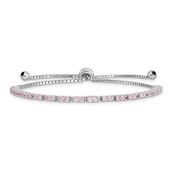 Sterling Silver Rhod-plated October Pink CZ Adjustable Bracelet