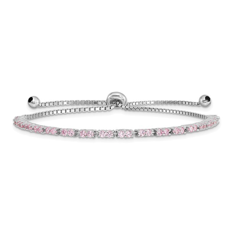 Quality Gold Sterling Silver Rhodium Plated October Pink CZ Adjustable Bracelet
