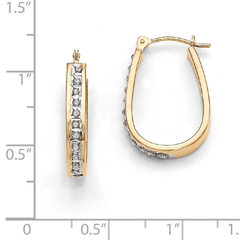 Quality Gold 14k Diamond Fascination Squared Hinged Hoop Earrings