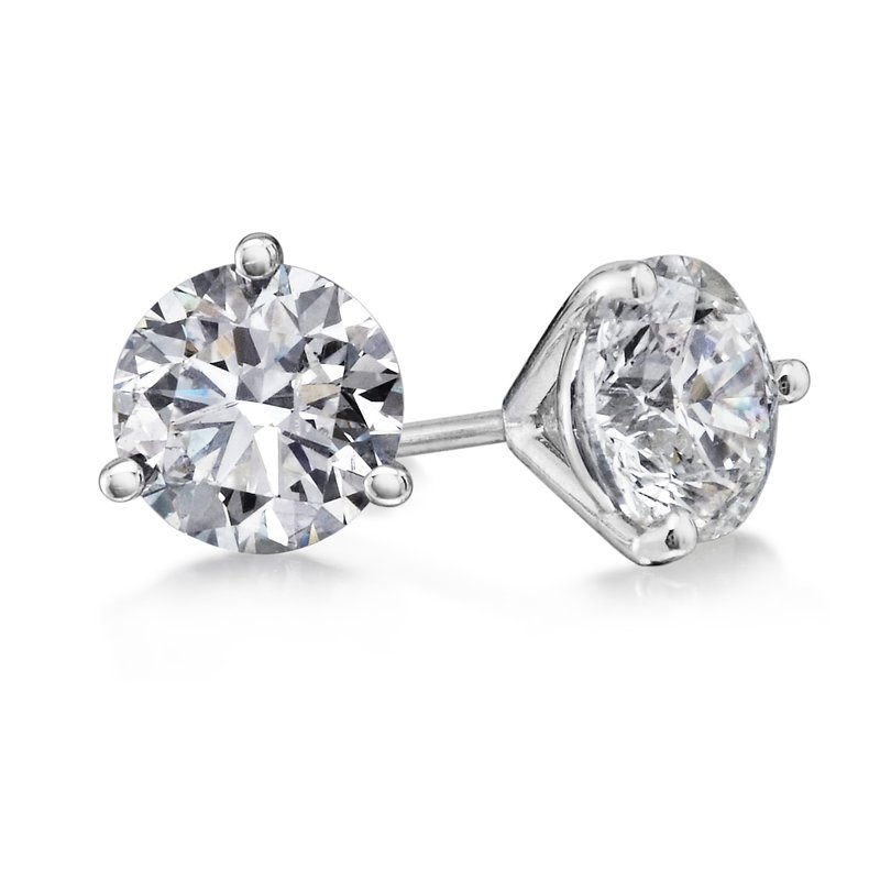 3 Prong 3.01 Ctw. Diamond Stud Earrings