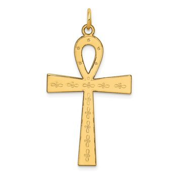 14K Laser Designed Ankh Cross Pendant