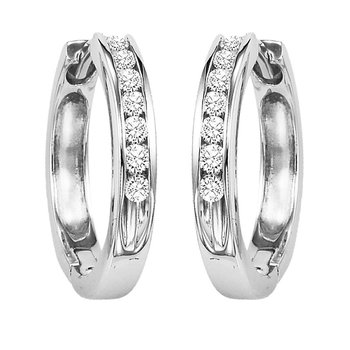14K Diamond Channel Set Earrings 1/4 ctw