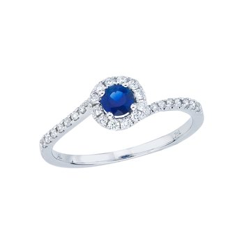 14k White Gold Sapphire and Diamond Halo Swirl Ring