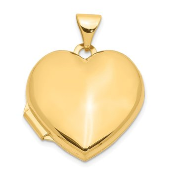 14k 18mm Heart Domed Plain Locket