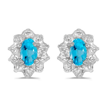 10k White Gold 5x3 mm Genuine Blue Topaz And Diamond Earrings