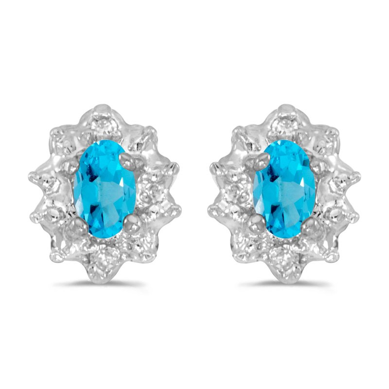 Color Merchants 10k White Gold 5x3 mm Genuine Blue Topaz And Diamond Earrings