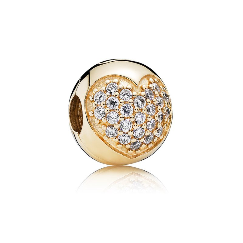 PANDORA Love Of My Life Clip, Clear Cz 14K Gold