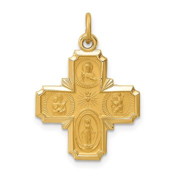14k Solid Polished/Satin Small 4-Way Medal