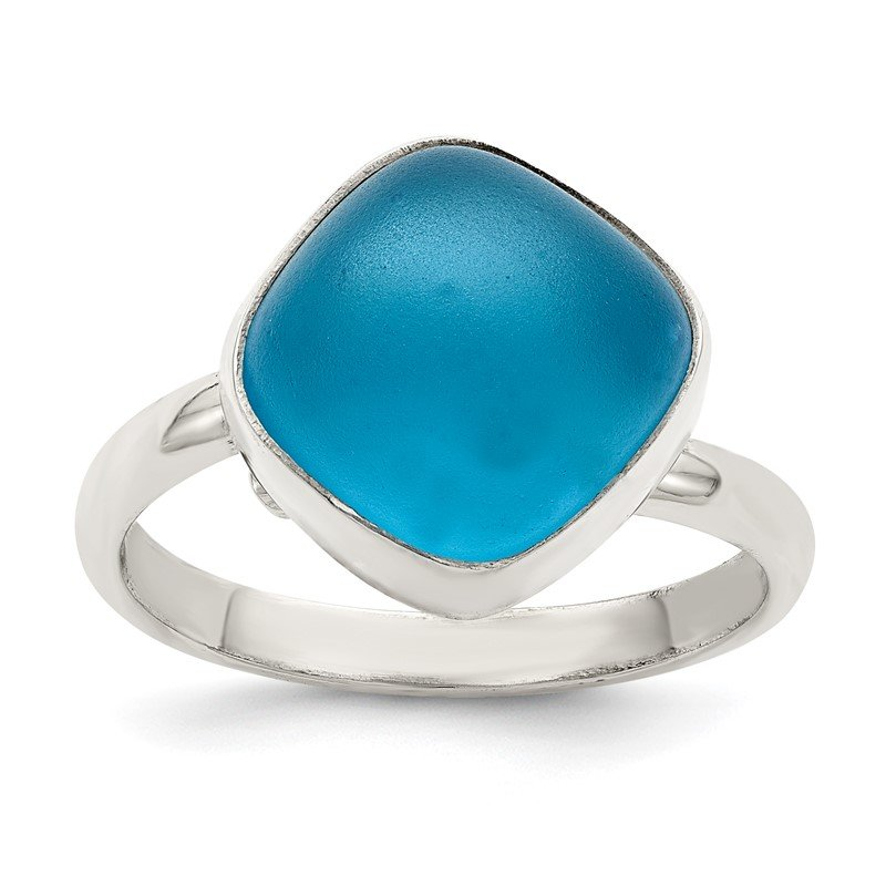 Quality Gold Sterling Silver Large Blue Sea Glass Ring