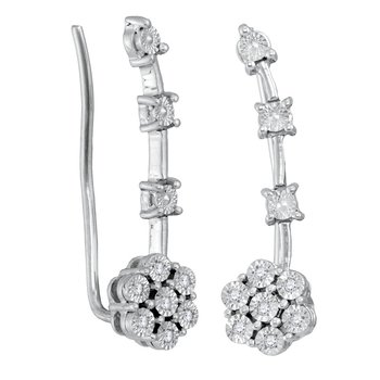 Sterling Silver Womens Round Diamond Illusion-set Cluster Climber Earrings 1/20 Cttw