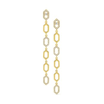 Diamond Octagonal Line Earrings Set in 14 Kt. Gold