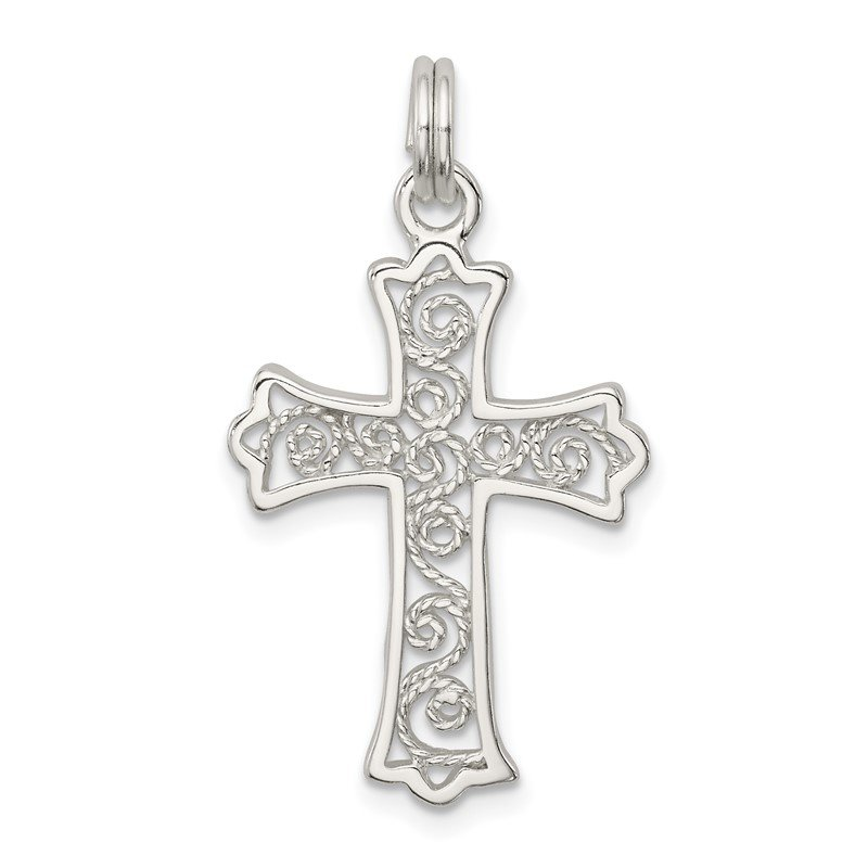 Quality Gold Sterling Silver Filigree Cross Charm