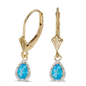10k Yellow Gold Pear Blue Topaz And Diamond Leverback Earrings
