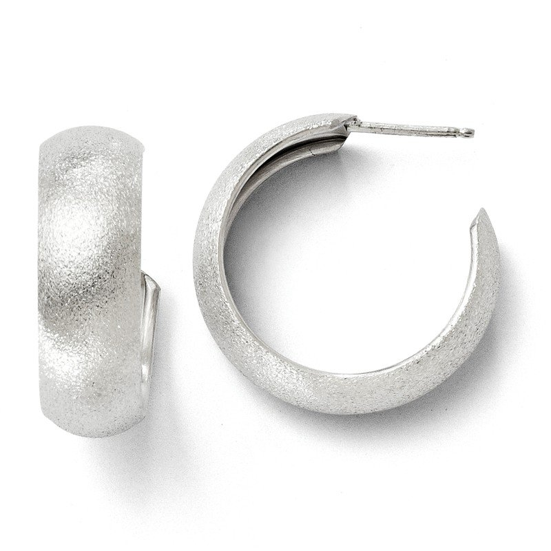 Leslie's Leslie's Sterling Silver Laser Textured Post Hoop Earrings