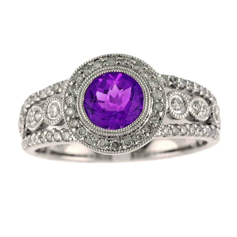 Color Merchants 14k White Gold Round Amethyst And Diamond Ring