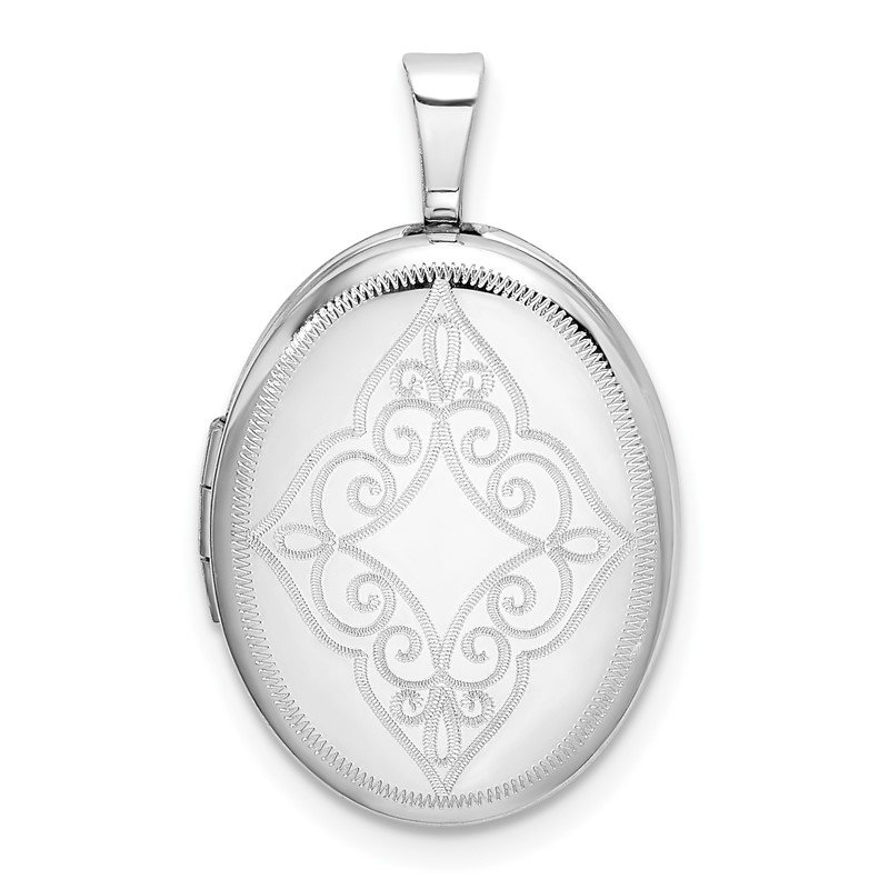 Quality Gold Sterling Silver Rhodium-plated Scroll Oval Locket