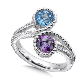 Sterling silver, amethyst and blue topaz diamond ring.