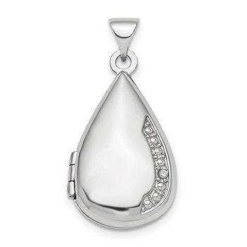 Sterling Silver Rhodium-plated Polished Diamond 21mm Teardrop Locket