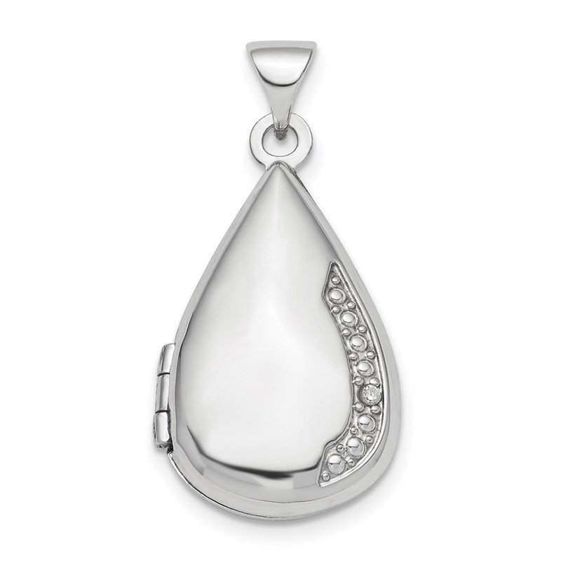 Quality Gold Sterling Silver Rhodium-plated Polished Diamond 21mm Teardrop Locket