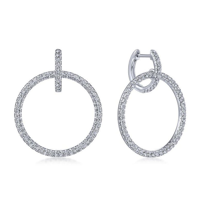 Gabriel Fashion 14K White Gold Round Linked Pavé 30mm Diamond Huggie Drop Earrings