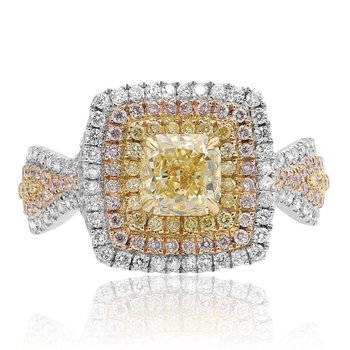 Triple Halo Cushion Cut Diamond Ring