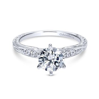 14k White Gold Petite Side Diamonds Straight Engagement Ring