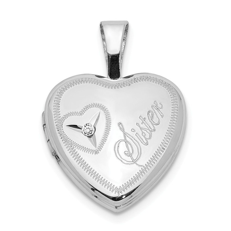 Quality Gold Sterling Silver Rhodium-plated & Diamond Sister Heart 12mm Heart Locket