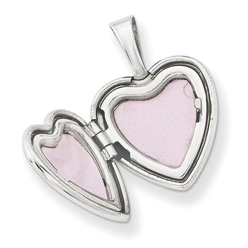 Sterling Silver Rhodium-plated & Diamond Sister Heart 12mm Heart Locket
