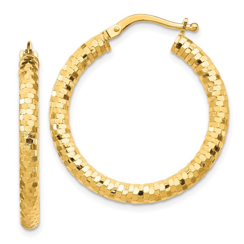 Quality Gold 14K 3x20mm Diamond-cut Hoop Earrings