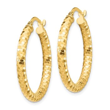 14K 3x20mm Diamond-cut Hoop Earrings