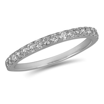 14K WG Diamond almost eternity Band in Prong Setting. 1/2 Cts