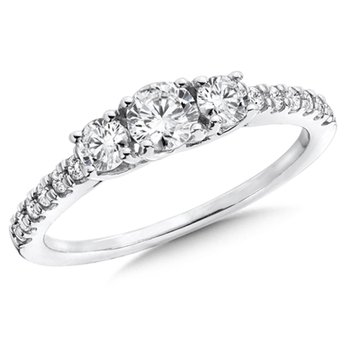 Round Diamond 3-Stone 14k White Gold Engagment Ring With Pave set Shank (3/4 ct. tw.).