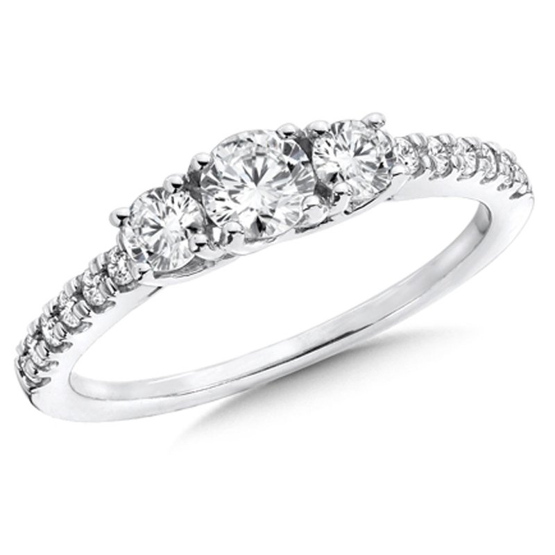SDC Creations Round Diamond 3-Stone 14k White Gold Engagment Ring With Pave set Shank (3/4 ct. tw.).