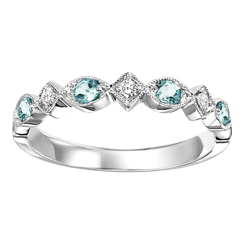 Mixables 10K Blue Topaz & Diamond Mixable Ring