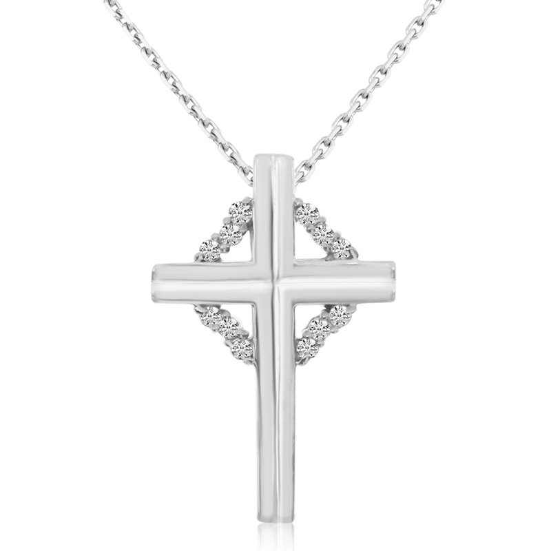 Color Merchants 14K White Gold Diamond Cross