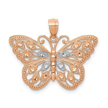 14k Rose Gold w/Rhodium Diamond-cut Butterfly Pendant
