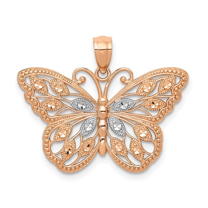 Quality Gold 14k Rose Gold w/Rhodium Diamond-cut Butterfly Pendant