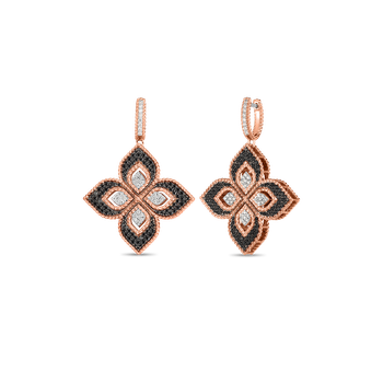 18KT ROSE/BLK MED DIAMOND DROP FLOWER EARRINGS