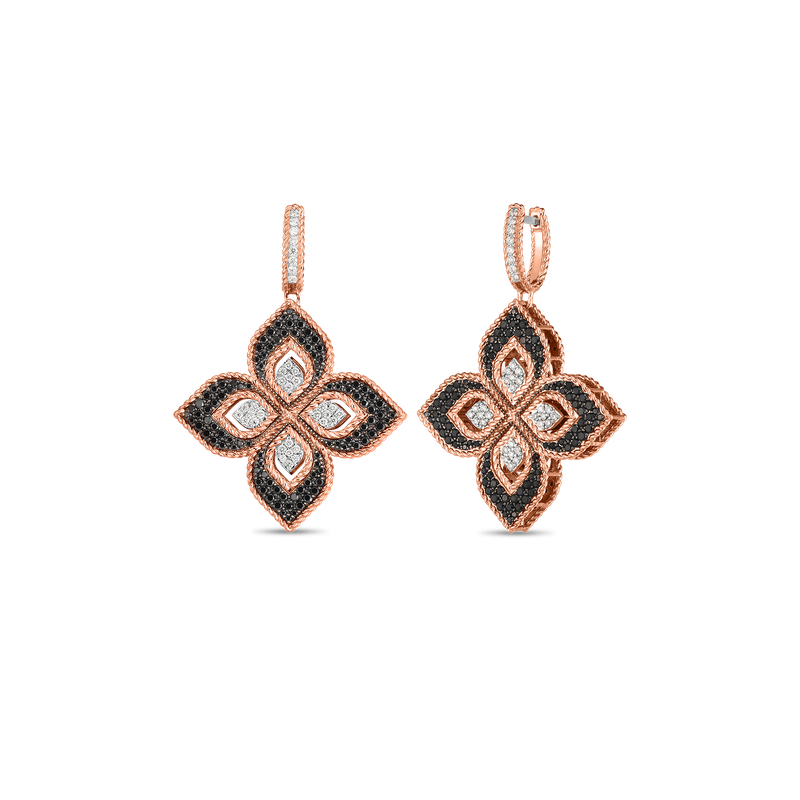 Roberto Coin 18KT ROSE/BLK MED DIAMOND DROP FLOWER EARRINGS